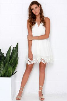 Crisscross the Divide Ivory Dress at Lulus.com!