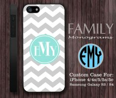 grey and blue chevron monogram hard plastic case by familymonogram, $15.99