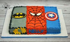 superhero cake; spiderman cake, batman cake, captain america cake, sheet cake