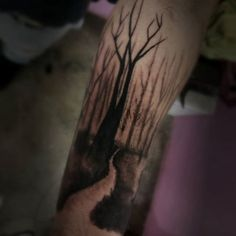 Nature Trail Forearm Tree Male Tattoo Ideas