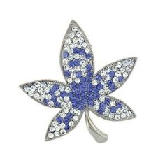 "Swarovski Crystal ""Leaf"" Brooch / Pin (1/2"" x 1 3/4"") - Gift Boxed Sea of Diamonds. $35.00"