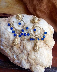 Blue Onyx Gypsy Style Chandilier Earrings with Vermeil Bali Beads by MustardSeedTreasures on Etsy