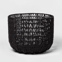 x Round Woven Basket Black - Project 62 Decorative Storage Bins, Cube Storage, Storage Baskets, Decorative Bowls, Storage Containers, Gift Baskets, Wood Bin, Blanket Basket, Copper Handles