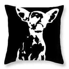 Pup Art Cow Chihuahua fine art decorative designer decorator pillow throw pillow cushions 14x14 26x26 dog pet animal black white cushion fun by HeatherJoyceMorrill on Etsy
