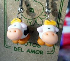 Polymer clay miniature cow earrings