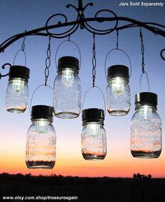Outdoor Event Lighting Mason Jar Solar Lights (lids only) by treasureagain on Etsy
