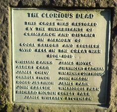 Name plaque on the front of the War Memorial Stone Cross at Grimsargh.