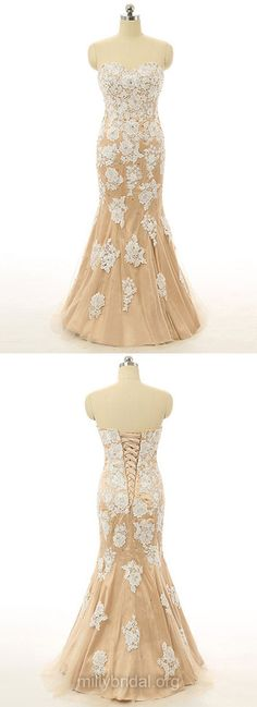 Fashion Sweetheart Formal Dresses,Tulle Appliques Lace Evening Party Dresses, Trumpet/Mermaid Long Prom Dresses