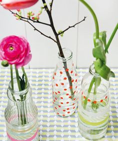 taped decorated vases
