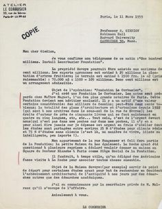 Letter from Le Corbusier to Sigfried Giedion, 11th March 1959