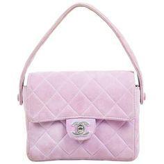 Preowned Chanel Lavender Purple Suede Quilted Turn Lock Mini Flap... ($1,260) ❤ liked on Polyvore featuring bags, handbags, purple, structured shoulder bags, pink purse, quilted purses, structured handbags, pink handbags and hand bags