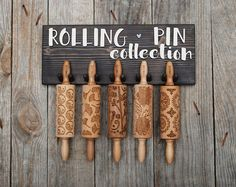 ROLLING PIN HOLDER - wooden hanger for 5 mini engraved rolling pins, personalized, ready to give, perfect wedding, housewarming gift
