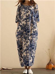 Ericdress Ethnic Loose Print Maxi Dress
