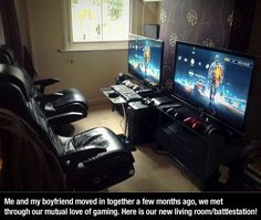 I need this! A gaming station for two! I really really want to set this up when I get my own place.. lol