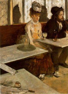 EDGAR DEGAS (1834-1917) L'ASSENZIO  Il mondo di Degas non era soltanto quello rilucente dell'Opera e dei o balletti: il pittore frequenta anche il mondo dei caffè, dove trova un'umanità più sconsolata, più dolorosa, più sola. L'influenza delle stampe giapponesi e un ricordo degli interni olandesi sono alla base di questo quadro dipinto nel 1876, dove l'introduzione ardita del tavolo messo di sghembo ha il sapore di una inquadratura fotografica. #Degas #art #history #oil #canvas
