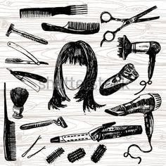 kappersspullen silhouet - Google zoeken Salon Pictures, Vector Hand, Barber, How To Draw Hands, Stylists, Drawings, Illustration, Hand Drawn, Doodle