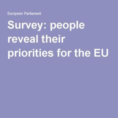 Survey: people reveal their priorities for the EU