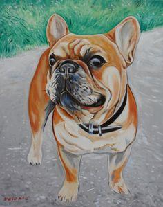 "vanessa's french bulldog 30x24"" oil on canvas by DRAGOSLAV MILIC"