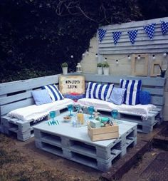 Pallet Garden Nautical Furniture Set And Sign Pallet Garden Nautical Furniture Set And Sign 1001 Pallets The post Pallet Garden Nautical Furniture Set And Sign appeared first on Pallet Ideas. Pallet Garden Furniture, Outdoor Furniture Plans, Pallet Patio, Pallets Garden, Outdoor Pallet, Pallet Seating, Outdoor Palette Furniture, Pallet Planters, Pallet Gardening