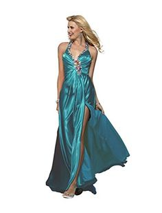 Clarisse Embellished Halter Charmeuse Prom Gown 2154 Teal 18 * Continue to the product at the image link. Note: It's an affiliate link to Amazon.