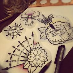Traditional tattoo style flowers