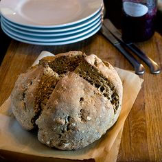Traditional Irish Brown Soda Bread with Oats and Molasses. As simple as it gets.