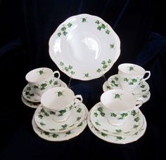 Colclough Ivy Leaf Bone China Tea & Dessert Set for 4 - 13 pieces - England #Colclough
