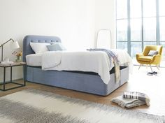 What do you call a drowsy rapper? A Napper. We said a kip, a kap, a kip to the nap. Spot on for this upholstered heaboard. Ottoman Storage Bed, Ottoman Bed, Bed Storage, Storage Spaces, Storage Area, Adams Furniture, Unique Furniture, Furniture Making, Furniture Ideas