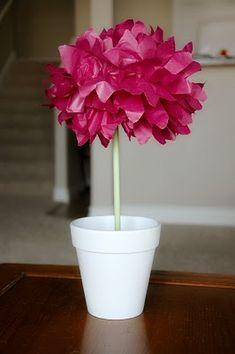 Paper flower topiary centerpiece pinterest pom pom topiary centerpiece mightylinksfo