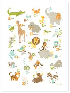 Alligator to Zebra Alphabet poster. $40.00, via Etsy.