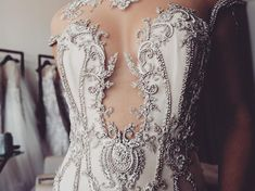 Intricate details of our Celine gown from the 2018 couture collection Wedding Dress With Veil, Stunning Wedding Dresses, New Wedding Dresses, Beautiful Dresses, Lace Wedding, Bride Dresses, Dream Wedding, Mermaid Skirt Pattern, Dresser