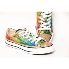 Sequin Rainbow Gold Multi Colored Canvas Converse Sneakers Low Tops... ($120) ❤ liked on Polyvore featuring shoes, sneakers, silver, sneakers & athletic shoes, tie sneakers, women's shoes, gold glitter sneakers, colorful shoes, sequin shoes and gold sneakers