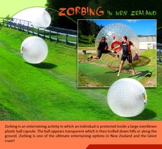 Zorbing in New Zealand :  Zorbing is an entertaining activity in which an individual is #protected inside a large #overblown #plastic #ball #capsule. The ball appears #transparent which is then trolled down #hills or along the #ground. Zorbing is one of the ultimate entertaining options in New Zealand and the latest #craze!  |    #zorbing #fun #travel #kiwitravel #flightstonewzealand  |    #flights  to new zealand : http://www.kiwitravel.co.uk/