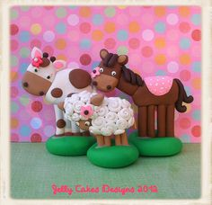 barnyard animal cake toppers by Jelly Cakes, via Flickr