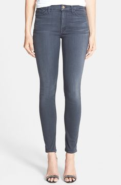 7 For All Mankind® High Rise Ankle Skinny Jeans (Bastille Grey) available at #Nordstrom