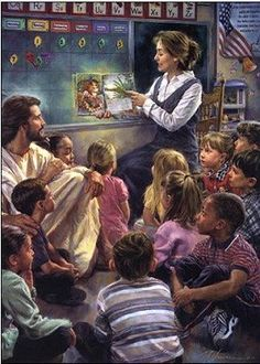 Nathan Greene Storytime Canvas Giclee #NathanGreene #Inspirational. Storytime is Nathan Greene's first painting in a classroom setting. The artist is not only demonstrating the closeness of Jesus to students and children, but also showing the vital importance of education and the effective passing on of His values to a new generation.