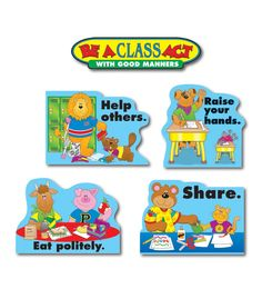 "Mind your manners! This encouraging, character-themed bulletin board set includes: A ""Be a Class Act with Good Manners"" header (21"" x 5"") 10 helpful reminder accents (largest approx. 17"" x 12"") A resource guide"