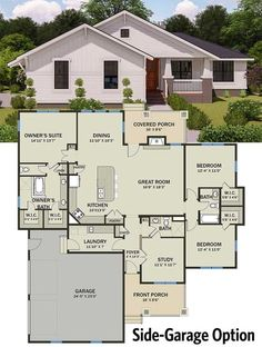 Tiny House Plans 560276009892573171 - Modern Prairie Pleaser – floor plan – Side-Garage Option Source by Dream House Plans, Small House Plans, House Floor Plans, Dream Houses, Ranch Style Floor Plans, Modern Floor Plans, Architectural Design House Plans, Modern House Design, The Plan