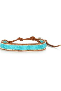 Turquoise and silver-beaded leather bracelet by Chan Luu