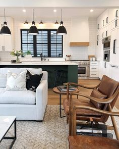 Kitchen Living Room The idea of contemporary minimalist dining-room is to keep everything simple and simple on the eyes. Pick basic, neutral or different shades like this design. Living Room Designs, Living Room Decor, Living Spaces, Living Room Accent Chairs, Dark Green Living Room, Retro Living Rooms, Living Room Lighting, Home Design, Modern Design