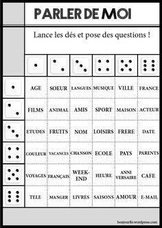 Jeux avec des dés - a bit young for college students, but really nice premade grids for getting students to ask questions
