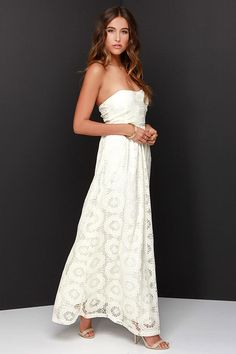 No Less Than Flawless Strapless Cream Lace Maxi Dress at Lulus.com!