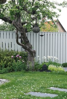 Dags for tradgards.From Add Simplicity Sweden Garden Fencing, Garden Paths, Garden Landscaping, Garden Trees, Trees To Plant, Fence Design, Garden Design, Little Gardens, Walled Garden