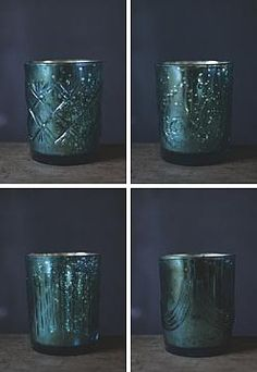 "MERCURY GLASS CANDLE, AQUA, BOUQUET SCENT, 3.75""H, 4 STYLES, EACH"