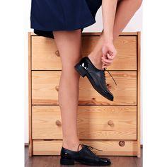 Pantofi Oxford din piele naturala negri Carina