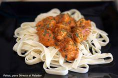 fetuccini con curry de pollo tipo madrás