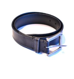 Leather High Stitch Belt - Black