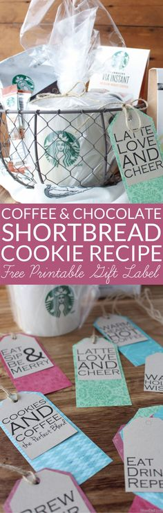 This Coffee and Chocolate Shortbread Recipe is perfect for cookie exchanges and holiday gifts. Simple chocolate dipped mocha shortbread cookies are beautiful and tasty. Includes free printable gift tags for coffee lovers. Chocolate Shortbread Recipe, Shortbread Recipes, Cookie Recipes, Chocolate Coffee, Chocolate Dipped, Chocolate Morsels, Chocolate Glaze, Free Printable Gift Tags, Free Printables