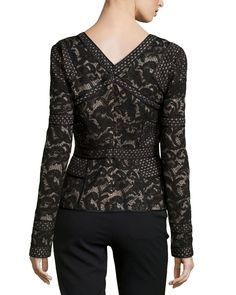 Long-Sleeve Floral Lace Top