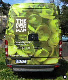 Rear Window Advertising, MB Sprinter Wrap, Flower Truck, The Fresh Flower Man, Partial Vehicle Wrap